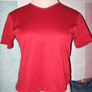 NIKE Brick Red V Neck Athletic Stretch Shirt M